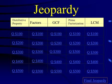 Jeopardy Distributive Property FactorsGCF Prime Factorization LCM Q $100 Q $200 Q $300 Q $400 Q $500 Q $100 Q $200 Q $300 Q $400 Q $500 Final Jeopardy.