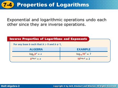 Logs and Exp as inverses