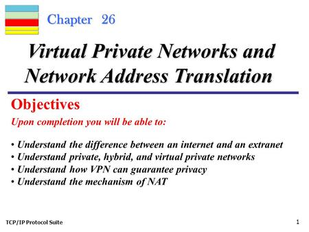 TCP/IP Protocol Suite 1 Chapter 26 Upon completion you will be able to: Virtual Private Networks and Network Address Translation Understand the difference.