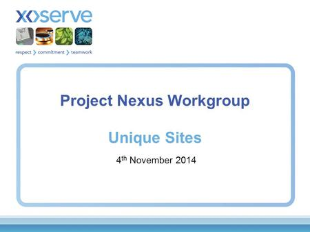 Project Nexus Workgroup Unique Sites 4 th November 2014.