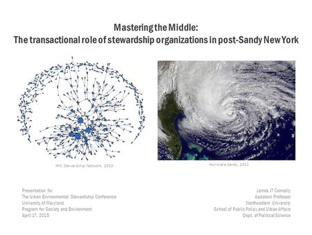 Mastering the Middle: The transactional role of stewardship organizations in post-Sandy New York Presentation for The Urban Environmental Stewardship Conference.