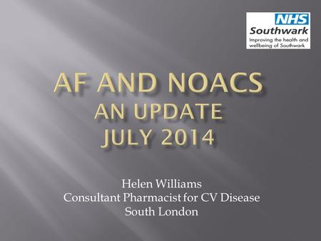 Helen Williams Consultant Pharmacist for CV Disease South London.
