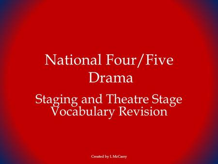 National Four/Five Drama Staging and Theatre Stage Vocabulary Revision Created by L McCarry.
