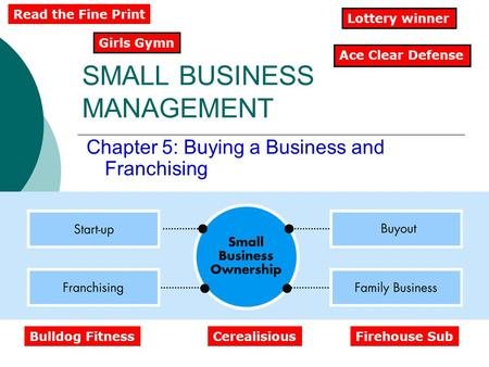 SMALL BUSINESS MANAGEMENT Chapter 5: Buying a Business and Franchising Ace Clear Defense Girls Gymn Lottery winner Read the Fine Print Bulldog FitnessCerealisiousFirehouse.