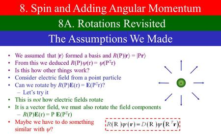 8. Spin and Adding Angular Momentum 8A. Rotations Revisited