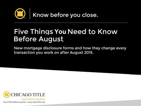 Five Things to Know: Five Things You Need to Know Before August 2015