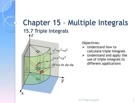 Chapter 15 – Multiple Integrals 15.7 Triple Integrals 1 Objectives:  Understand how to calculate triple integrals  Understand and apply the use of triple.