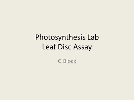 leaf disc photosynthesis lab Edvo-kit: ap05 photosynthesis  this experiment uses the fl oating disk leaf assay to explore the process of photosynthesis in plants leaf disks  lab.