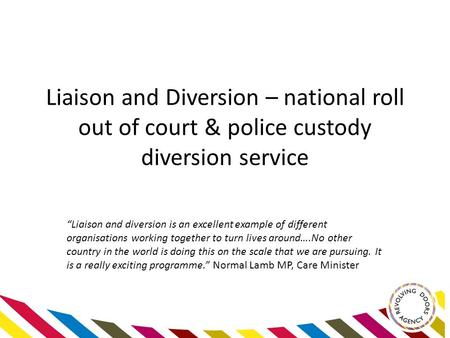 "Liaison and Diversion – national roll out of court & police custody diversion service ""Liaison and diversion is an excellent example of different organisations."