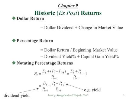 Jacoby, Stangeland and Wajeeh, 20001 uDollar Return = Dollar Dividend + Change in Market Value uPercentage Return = Dollar Return / Beginning Market Value.