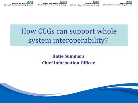 Katie Summers Chief Information Officer How CCGs can support whole system interoperability?