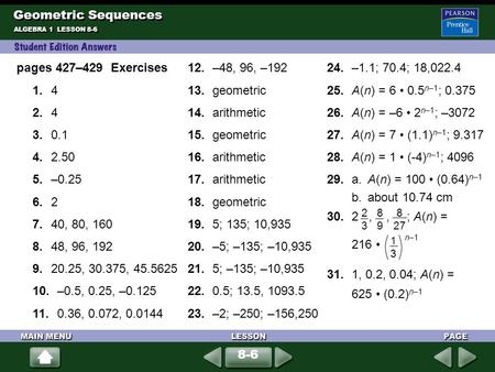 Geometric Sequences pages 427–429 Exercises