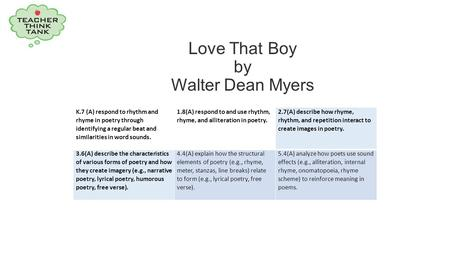 Love That Boy by Walter Dean Myers K.7 (A) respond to rhythm and rhyme in poetry through identifying a regular beat and similarities in word sounds. 1.8(A)