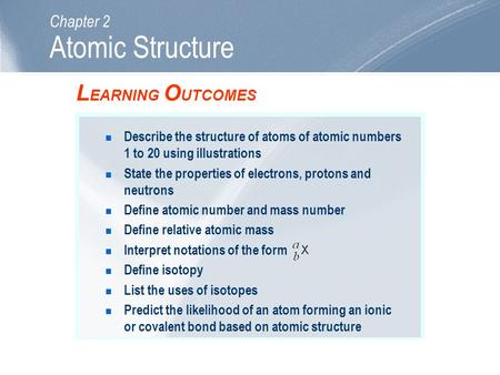 Atomic Structure LEARNING OUTCOMES Chapter 2