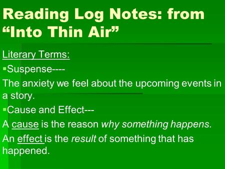 "Reading Log Notes: from ""Into Thin Air"""