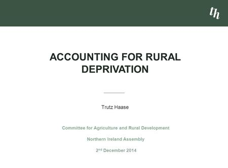 Accounting for Rural deprivation