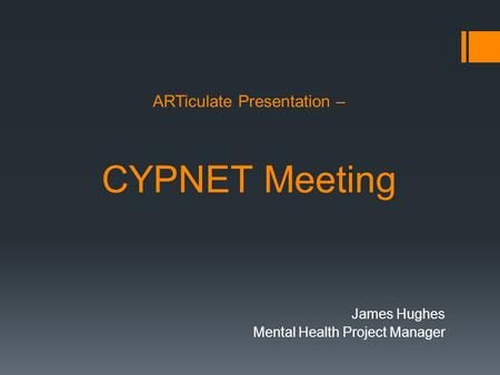 ARTiculate Presentation – CYPNET Meeting James Hughes Mental Health Project Manager.