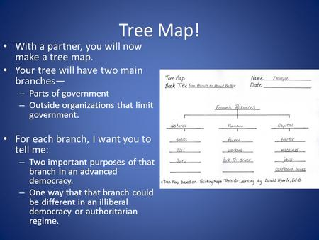 Tree Map! With a partner, you will now make a tree map.