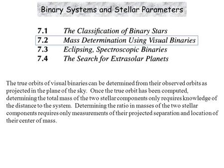 The true orbits of visual binaries can be determined from their observed orbits as projected in the plane of the sky. Once the true orbit has been computed,