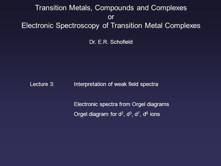 Transition Metals, Compounds and Complexes or