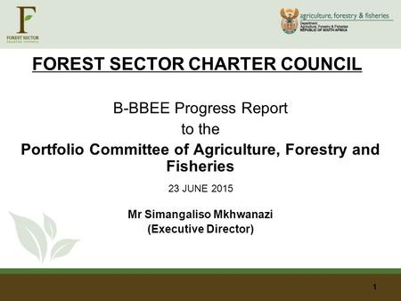 FOREST SECTOR CHARTER COUNCIL B-BBEE Progress Report to the Portfolio Committee of Agriculture, Forestry and Fisheries 23 JUNE 2015 Mr Simangaliso Mkhwanazi.