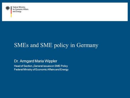 SMEs and SME policy in Germany