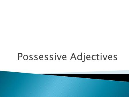Possessive Adjectives  Adjectives DESCRIBE nouns, correct?  Well, they can also show possession.