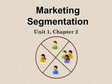 Marketing Segmentation Unit 1, Chapter 2. Market Segmentation Dividing the total market into smaller groups of people who share specific needs and characteristics.