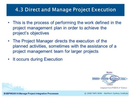 BSBPMG501A Manage Project Integrative Processes 4.3 Direct and Manage Project Execution This is the process of performing the work defined in the project.