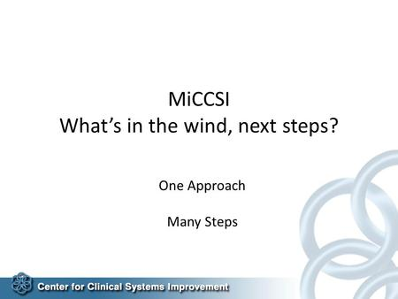 MiCCSI What's in the wind, next steps? One Approach Many Steps.