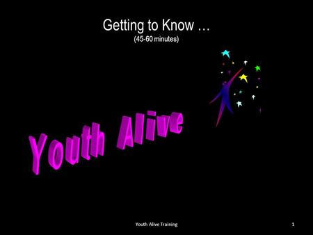 Getting to Know … Getting to Know … (45-60 minutes) Youth Alive Training1.