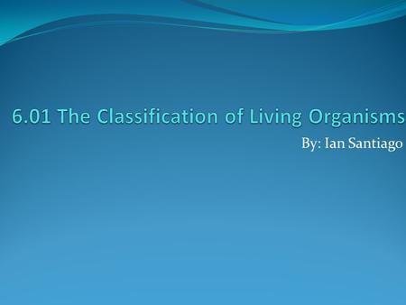 6.01 The Classification of Living Organisms