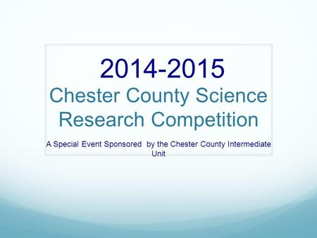 Chester County Science Research Competition