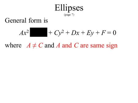 Ellipses (page 7) General form is Ax 2 + Bxy + Cy 2 + Dx + Ey + F = 0 where A ≠ C and A and C are same sign.