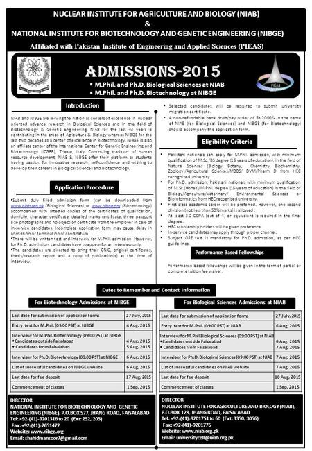 Admissions-2015 NUCLEAR INSTITUTE FOR AGRICULTURE AND BIOLOGY (NIAB) &