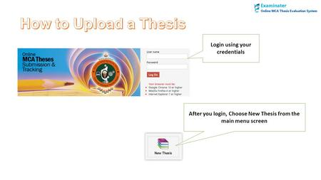 After you login, Choose New Thesis from the main menu screen Login using your credentials.