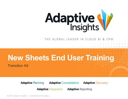 1 © 2014 Adaptive Insights | Confidential & Proprietary THE GLOBAL LEADER IN CLOUD BI & CPM New Sheets End User Training Transition Kit.