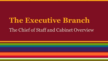 The Executive Branch The Chief of Staff and Cabinet Overview.