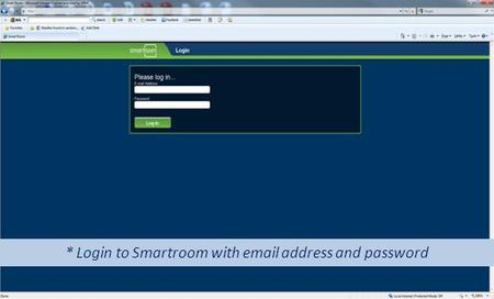 * Login to Smartroom with email address and password.