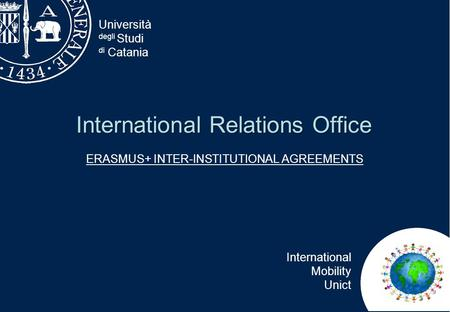 Università degli Studi di Catania International Mobility Unict International Relations Office ERASMUS+ INTER-INSTITUTIONAL AGREEMENTS.
