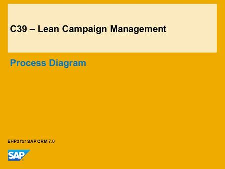 C39 – Lean Campaign Management Process Diagram EHP3 for SAP CRM 7.0.