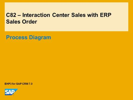 C82 – Interaction Center Sales with ERP Sales Order Process Diagram EHP3 for SAP CRM 7.0.