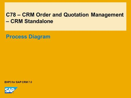 C78 – CRM Order and Quotation Management – CRM Standalone Process Diagram EHP3 for SAP CRM 7.0.