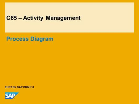C65 – Activity Management Process Diagram EHP3 for SAP CRM 7.0.