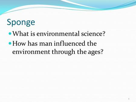 Sponge What is environmental science?