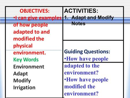 OBJECTIVES: I can give examples of how people adapted to and modified the physical environment. Key Words Environment Adapt Modify Irrigation ACTIVITIES: