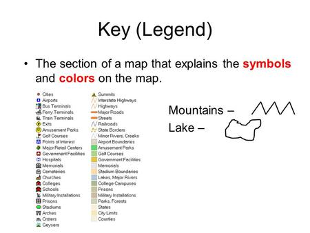 Key (Legend) The section of a map that explains the symbols and colors on the map. Mountains – Lake –