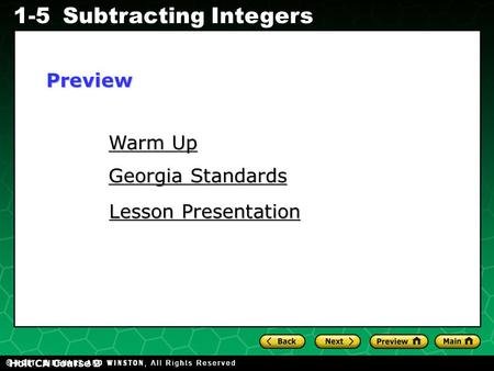 Evaluating Algebraic Expressions 1-5Subtracting Integers Holt CA Course 2 Warm Up Warm Up Georgia Standards Georgia Standards Lesson Presentation Lesson.