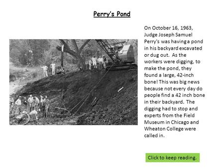 Perry's Pond On October 16, 1963, Judge Joseph Samuel Perry's was having a pond in his backyard excavated or dug out. As the workers were digging, to make.