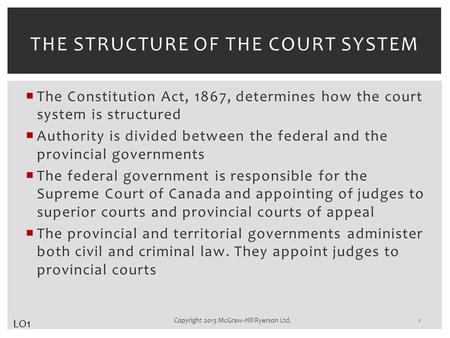  The Constitution Act, 1867, determines how the court system is structured  Authority is divided between the federal and the provincial governments 